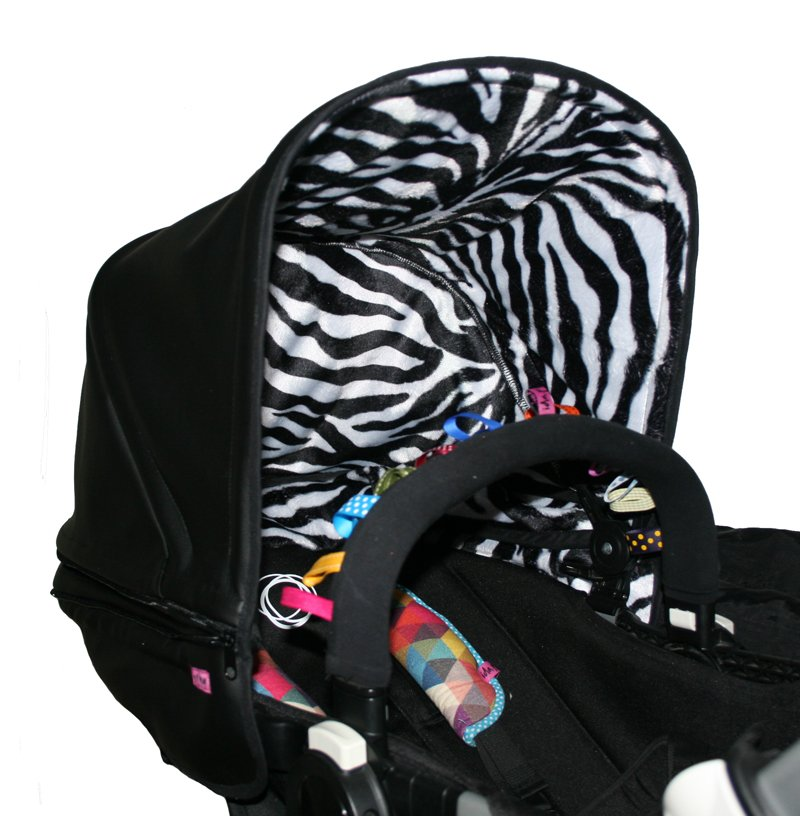 Zebra-mönstrat Gråvit/svart tyg Solskärm / Bältesmuddar
