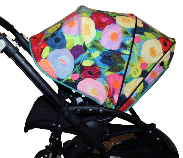 Tyg Blommigt akvarell trikå Solskydd barnvagn
