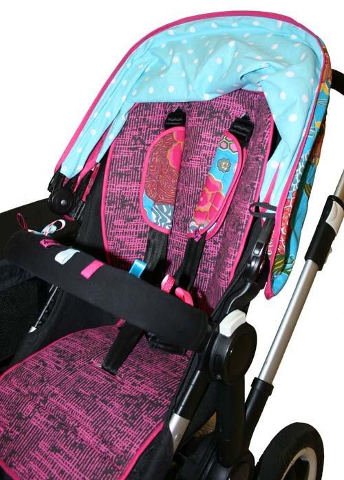 Tyg Cerise Virrvarr Solskydd barnvagn