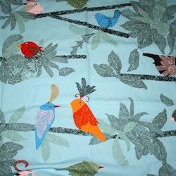 Tyg Blått med fåglar Solskydd barnvagn