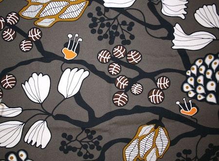 Tyg Gråbrun blommor och blad Solskärm / bältesmuddar