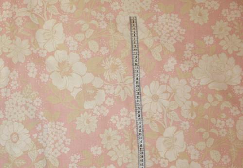Tyg rosa med beige/vita blommor Bältesmuddar