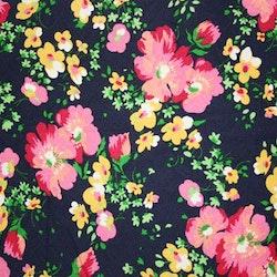 Tyg Marinblått blommigt retro. Bältesmuddar
