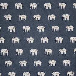 Tyg Blå elefanter vaxduk Bältesmuddar