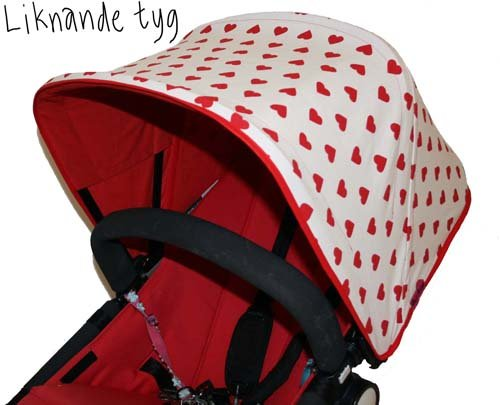 Tyg med röda hjärtan Solskydd barnvagn