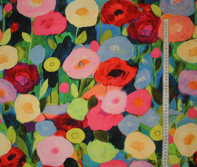 Tyg Blommigt akvarell trikå Bältesmuddar