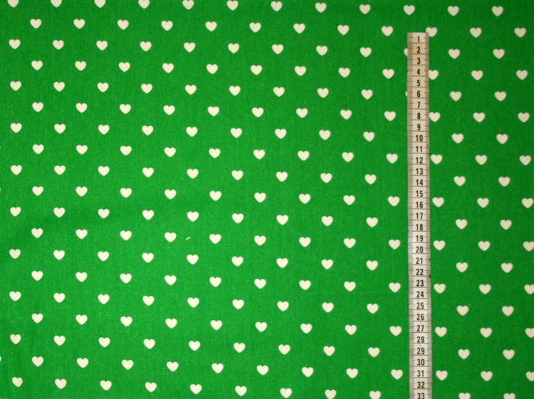 Tyg Grönt med vita hjärtan Sufflett/sittdyna