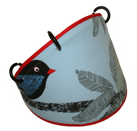 Tyg Blått med fåglar Solskärm / bältesmuddar