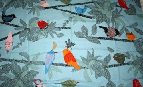 Tyg Blått med fåglar