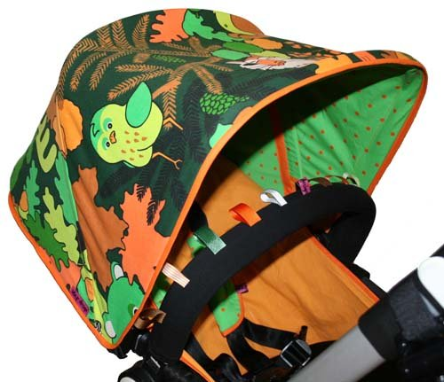 Tyg skogsmotiv solskydd barnvagn