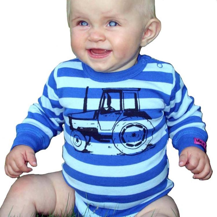 Bebisbody blå med traktor. Blå babybody med valmet traktor.
