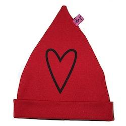 Mössa med hjärta Röd