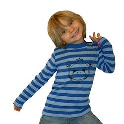 Ekologisk handtryckt tröja med apa Blå