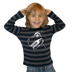 Ekologisk handtryckt tröja med dinosaur Marinblå/grå