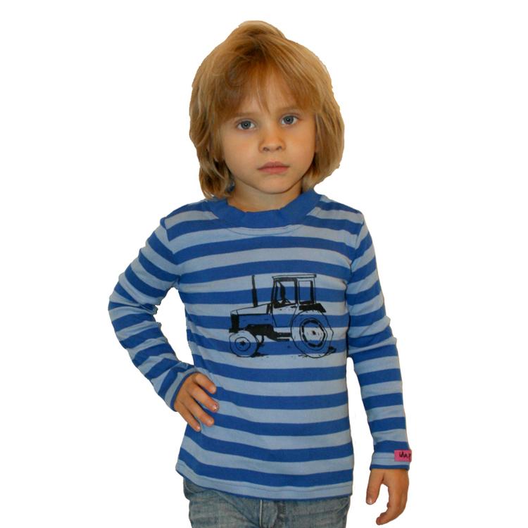Ekologisk handtryckt tröja med traktor Valmet Blå