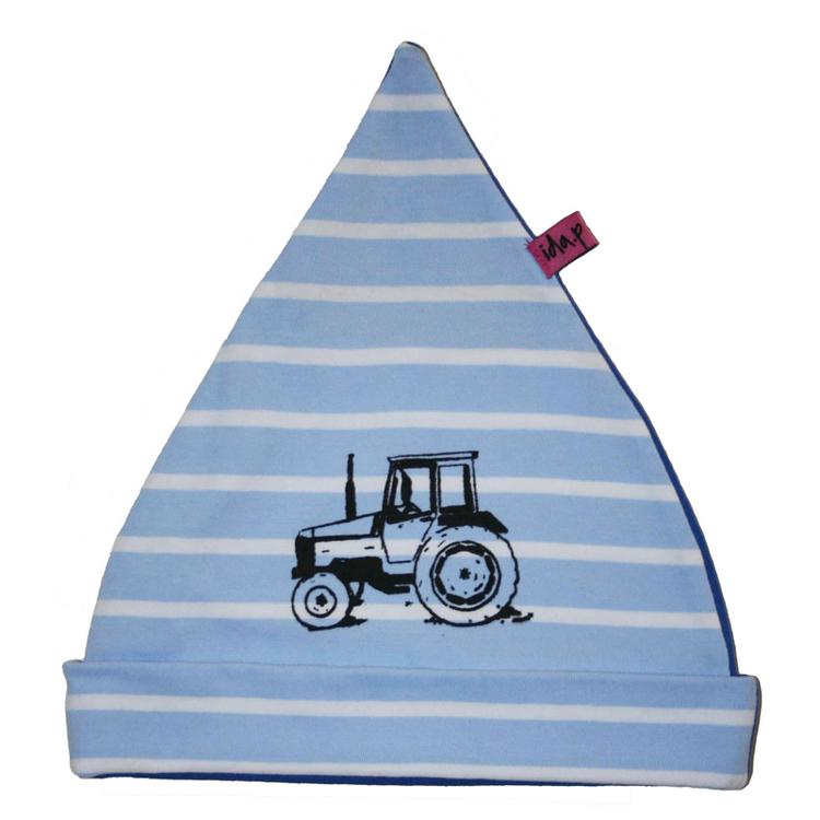 blå och vit randig mössa med handtryckt traktor valmet på