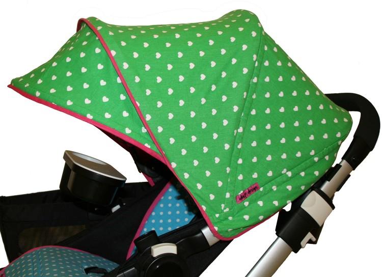 Tyg Grönt med vita hjärtan Solskydd barnvagn