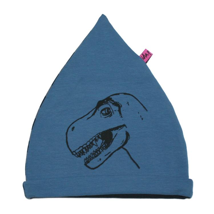 Blå barnmössa med dinosaur