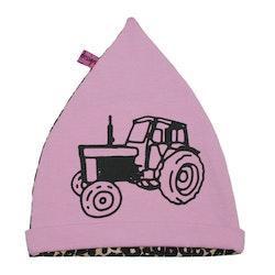 Mössa barn rosa med traktor Volvo leopardmönster EKO