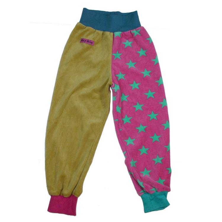 Byxor för barn i rosa och senapsgult och med turkosa stjärnor