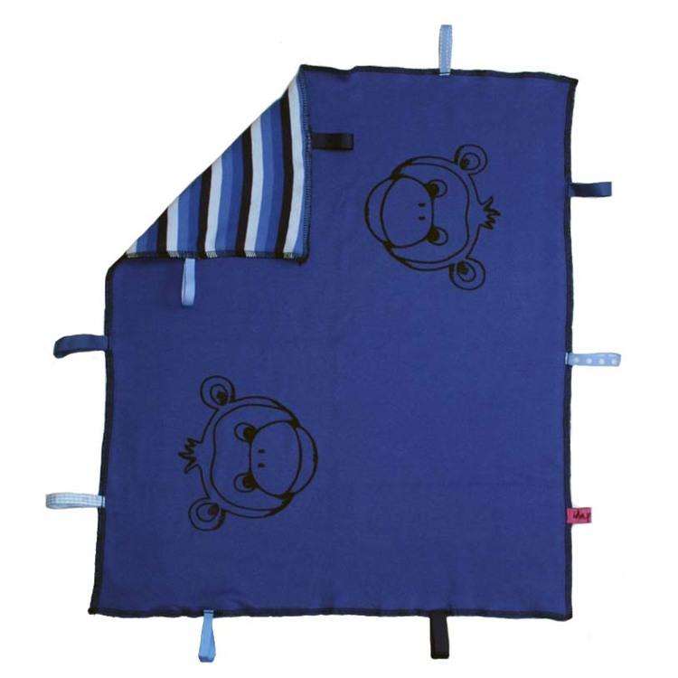 Blå snuttefilt / babyfilt med handtryckta apor
