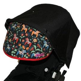 Solskydd för barnvagn Leksand Mini Svart med rött kantband solskärm