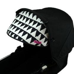 Solskydd barnvagn Svart vit trianglat