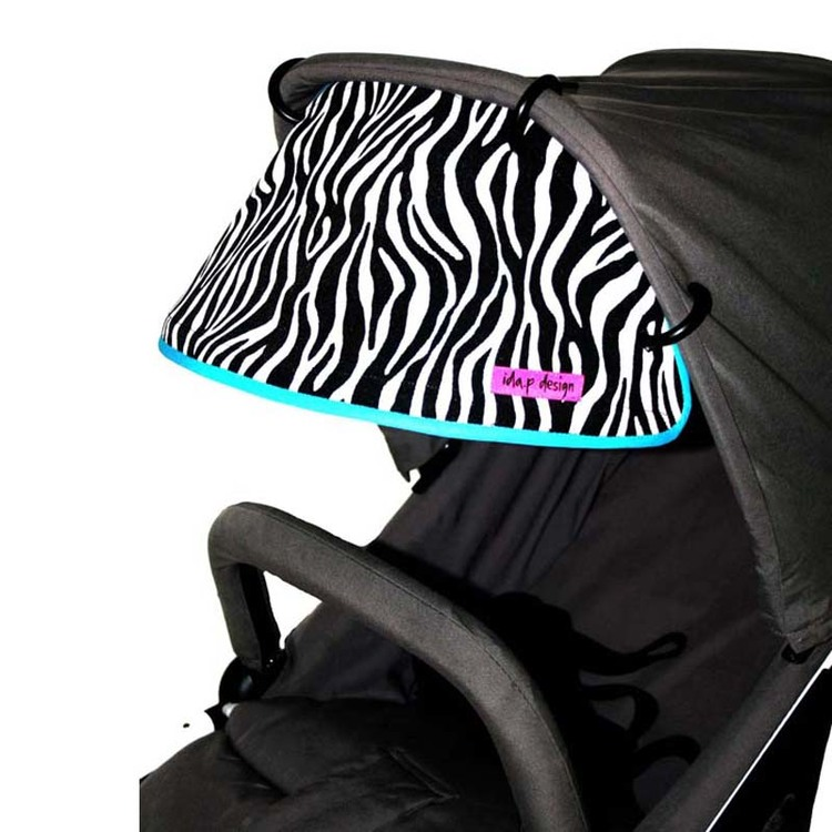 Solskärm med zebratyg. Passar på alla barnvagnar