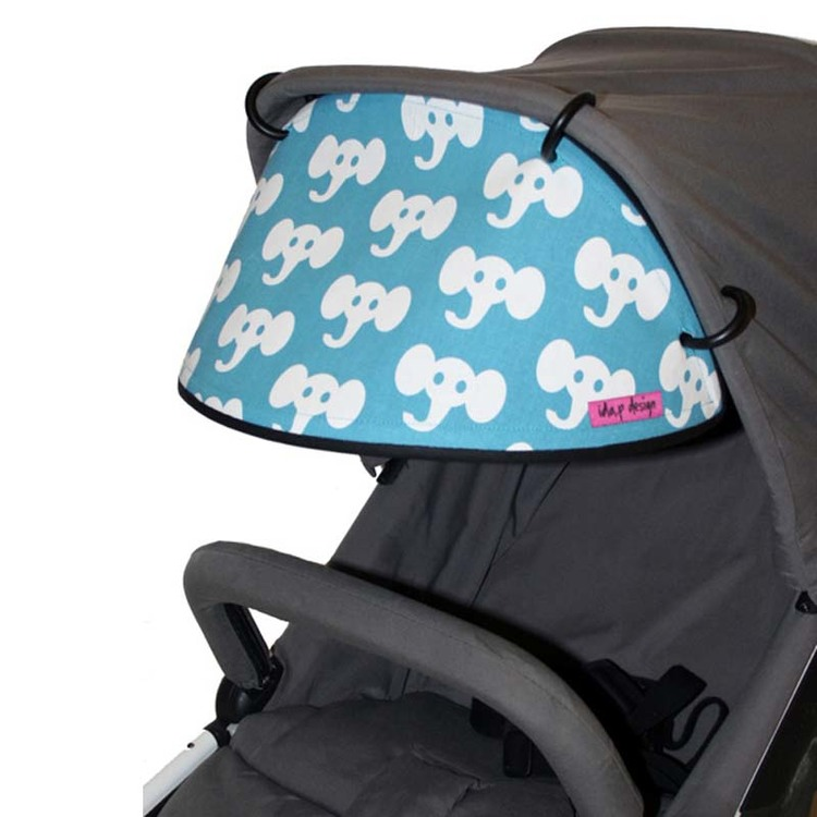 Tyg Turkos med vita elefanter Solskydd barnvagn