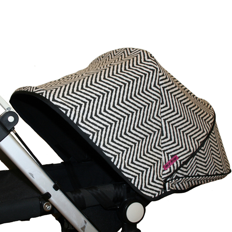 Tyg Svart/vitt zick zack Solskydd barnvagn