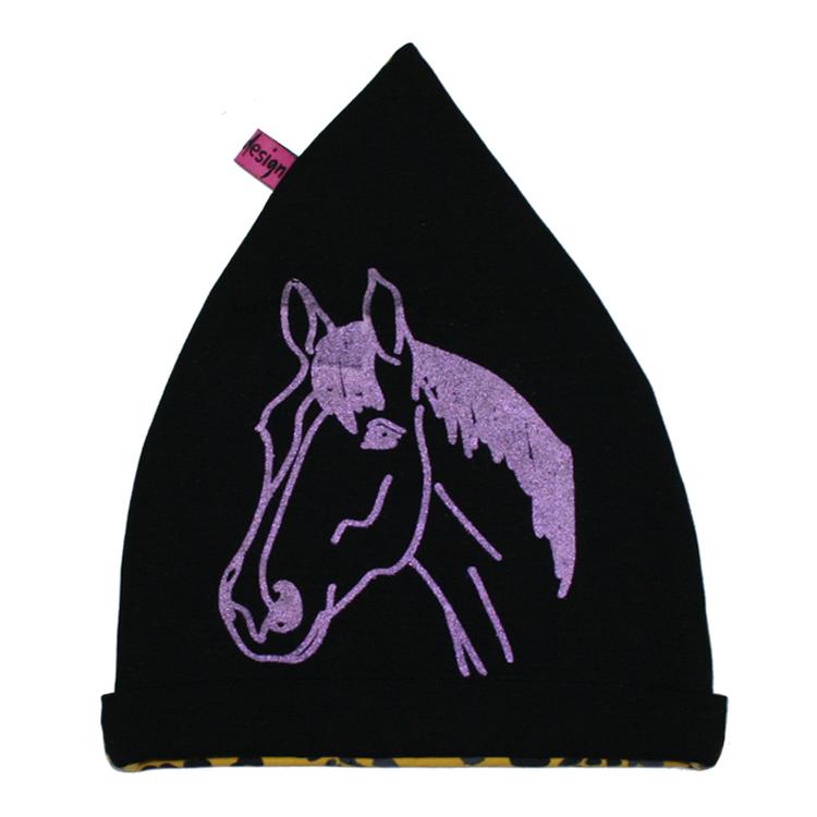 Svart barnmössa med lila glittrig häst