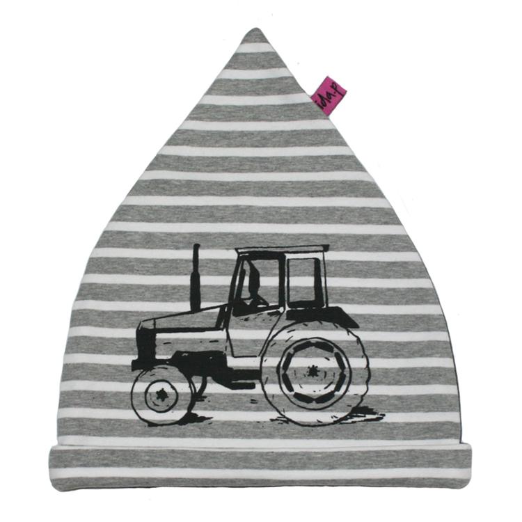 Barnmössa handtryckt med traktor Valmet
