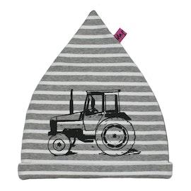 Mössa barn med stor traktor Valmet grå och vit randig EKO