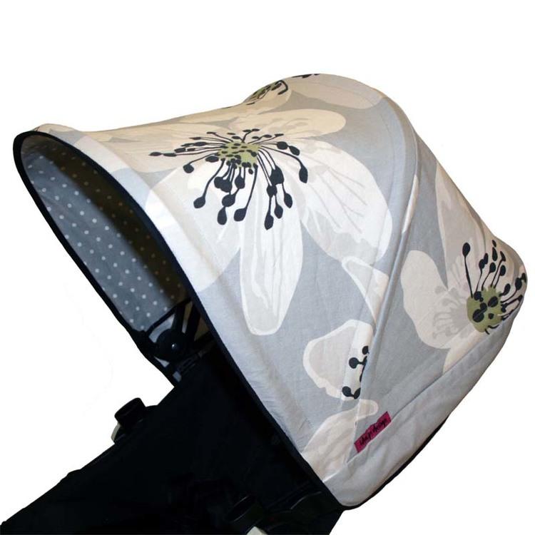 Tyg Grå stora blommor Sittdyna barnvagn