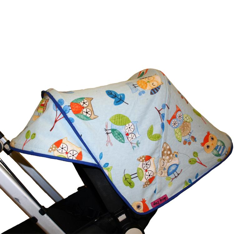 Tyg Ljusblå Ugglor Solskydd barnvagn