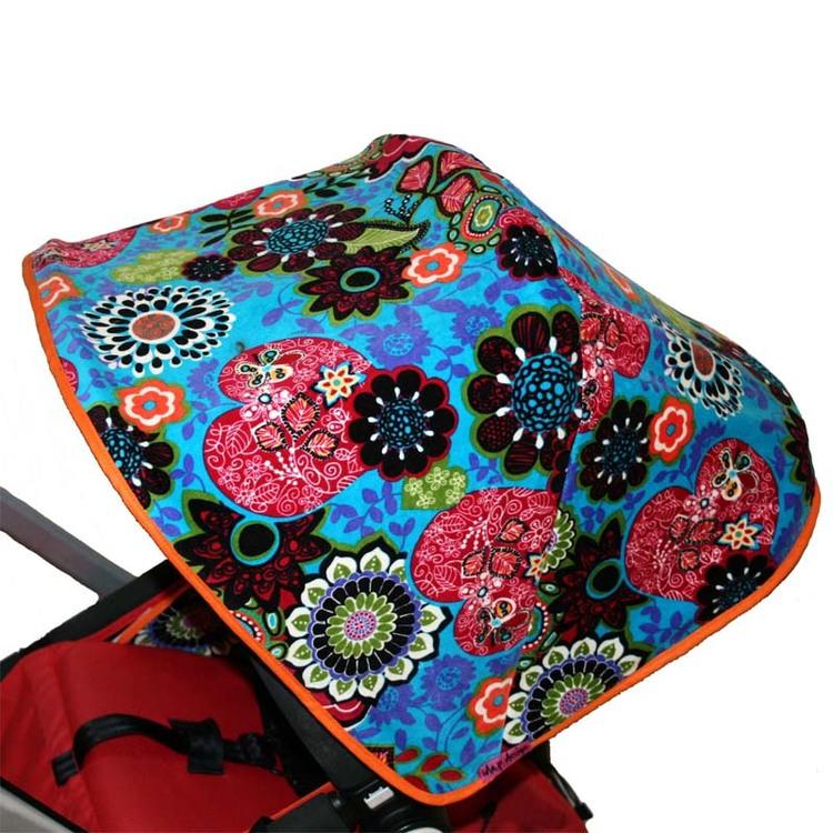 Tyg turkos plysch med blommor & hjärtan Solskydd barnvagn