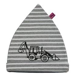 Mössa barn med Traktorgrävare grå och vit randig EKO