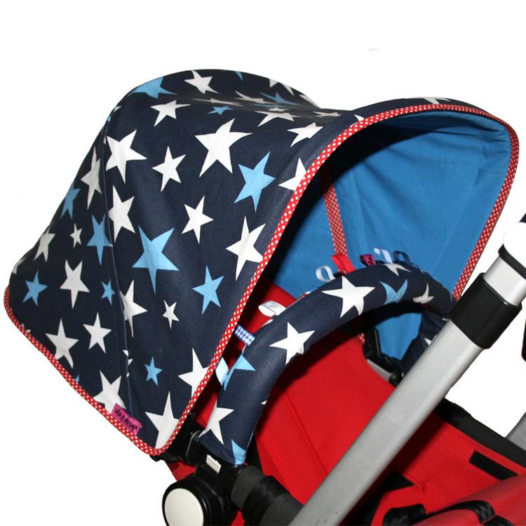 Vaxduk Marinblå med stjärnor Solskydd barnvagn