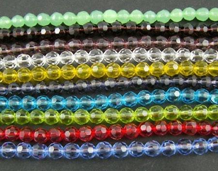 Facetterade glaspärlor i flera färger 10 mm 10-pack
