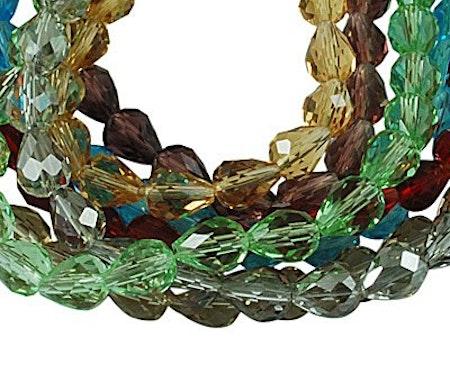Facetterade glasdroppar i flera färger 10-pack