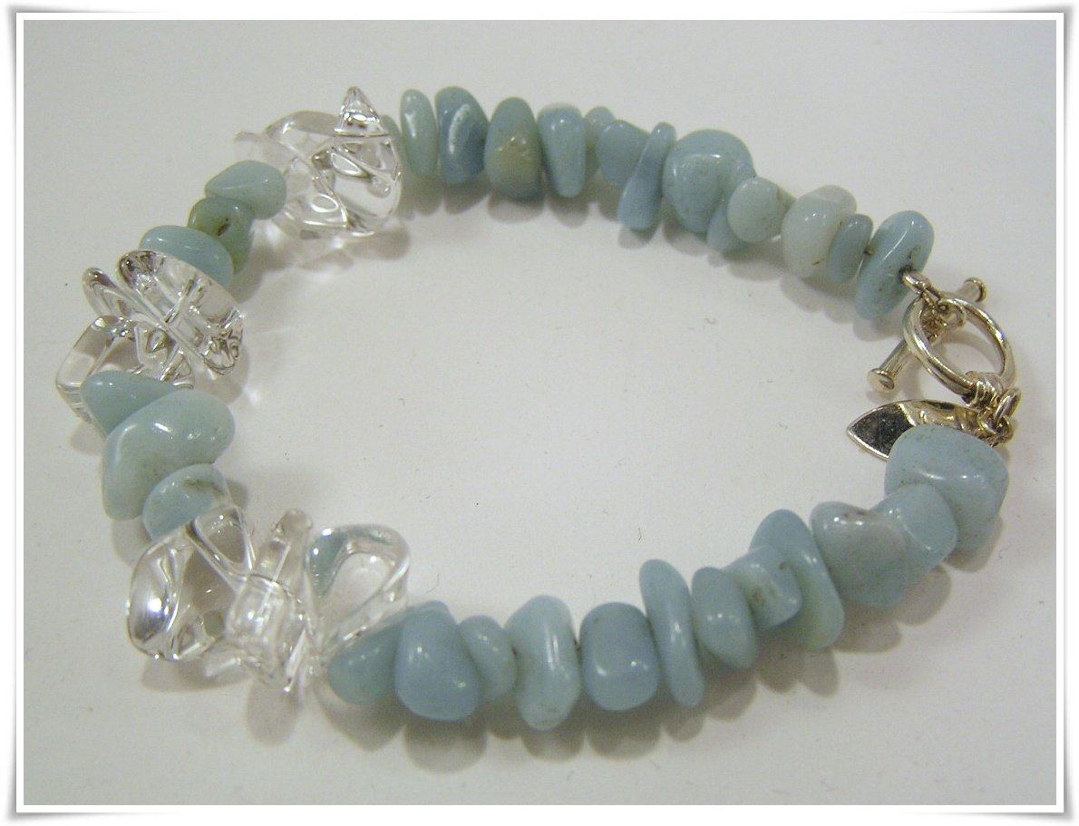 Armband med amazonite och bergkristall (230)