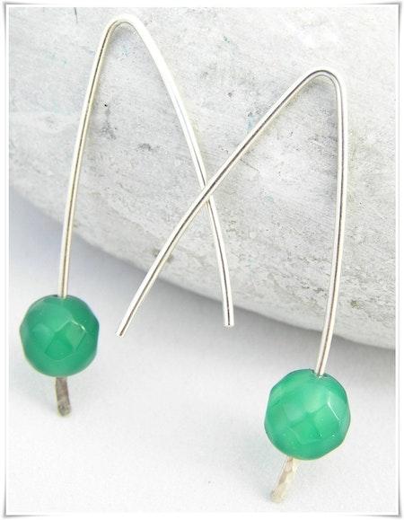 Örhänge med grön agat (333)