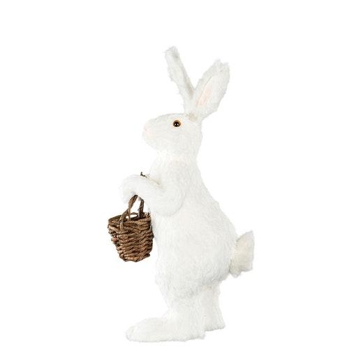 Hare med Korg. Vit. 34x27x71cm