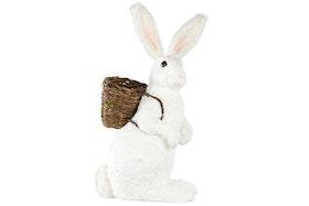 Hare med Korg. Vit stor. 43x39x90cm