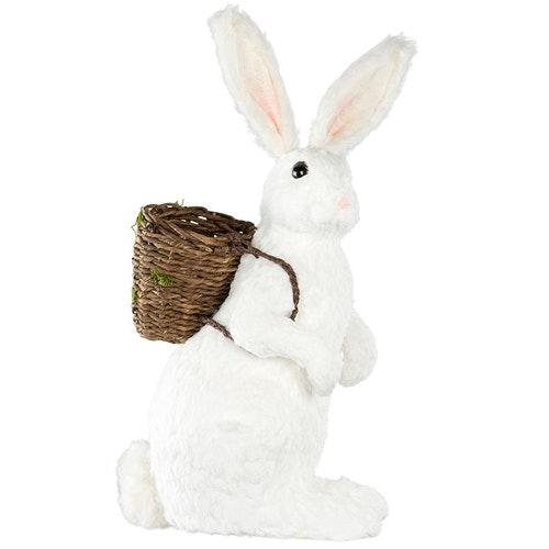 Påsk Hare med Korg. Vit stor. 43x39x90cm