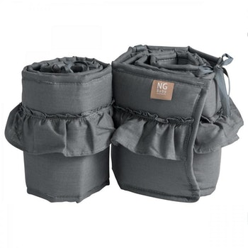 Spjälskydd bedside crib volang   Graphite grey   Mood ruffles