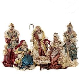 HOLY FAMILY SET/6 BRWN/CRM/BURG/BLU 48CM