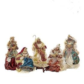 HOLY FAMILY SET/6 BRWN/CRM/BLU/BURG 38CM