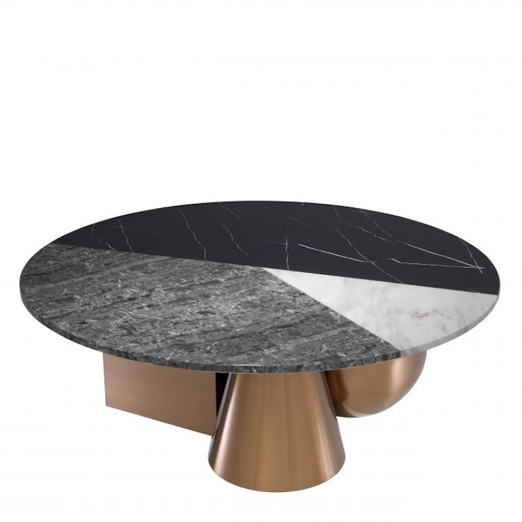 Table.  Brushed copper finish , faux marble top