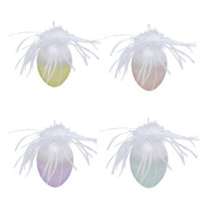 Påsk ägg H12 cm - pink/yellow/purple/green - Glass. 12 st